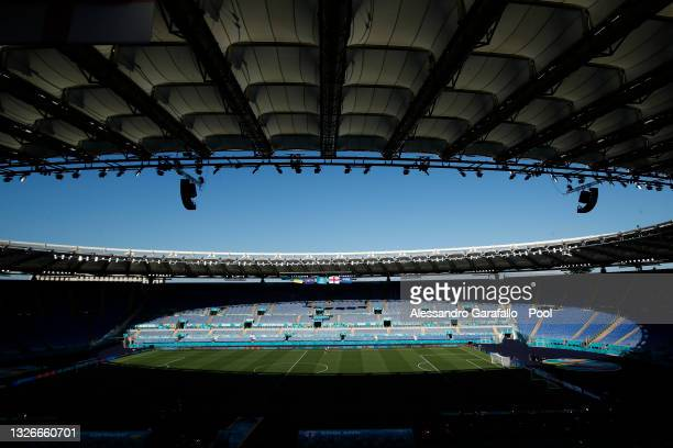 General view inside the stadium during the Ukraine Training Session ahead of the UEFA Euro 2020 Quarter Final match between Ukraine and England at...