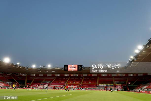 General view inside the stadium during the warm up prior to the Carabao Cup Second Round match between Southampton FC and Brentford FC at St. Mary's...