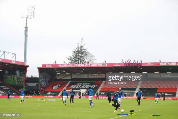 General view inside the stadium during the warm up prior to the FA Cup Third Round match between Oldham Athletic and AFC Bournemouth at Vitality...