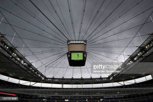 General view inside the stadium during the warm-up prior the Bundesliga match between Eintracht Frankfurt and 1. FSV Mainz 05 at Commerzbank-Arena on...