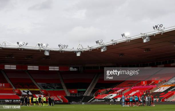 A general view inside the stadium following the Premier League match between Southampton FC and Sheffield United at St Mary's Stadium on July 26 2020...