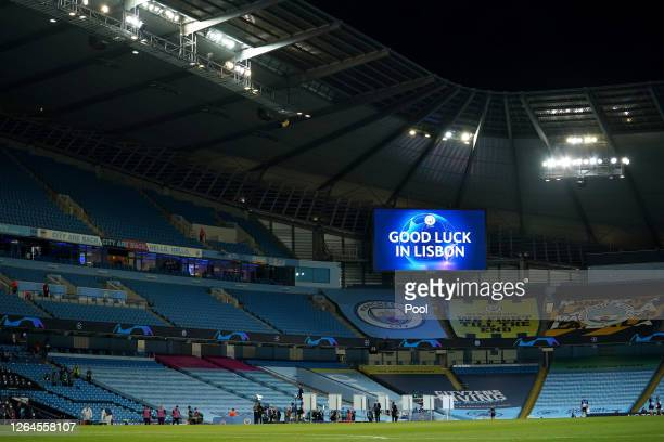 General view inside the stadium following the UEFA Champions League round of 16 second leg match between Manchester City and Real Madrid at Etihad...