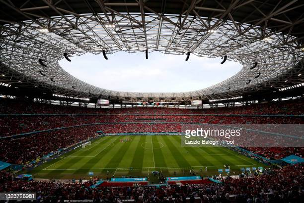 General view inside the stadium following the UEFA Euro 2020 Championship Group F match between Hungary and Portugal at Puskas Arena on June 15, 2021...