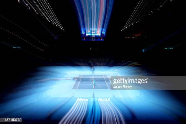 General view inside the stadium in the singles match between Roger Federer of Switzerland and Matteo Berrettini of Italy during Day Three of the...