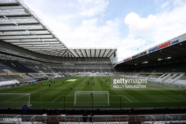 General view inside the stadium is seen ahead of the English Premier League football match between Newcastle United and Arsenal at St James' Park in...