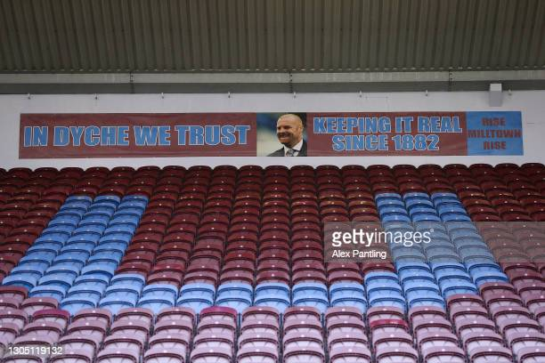 """General view inside the stadium of a """"In Dyche We Trust"""" banner prior to the Premier League match between Burnley and Leicester City at Turf Moor on..."""