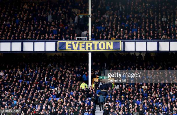 General view inside the stadium of an Everton banner during the Premier League match between Everton FC and Chelsea FC at Goodison Park on March 17...