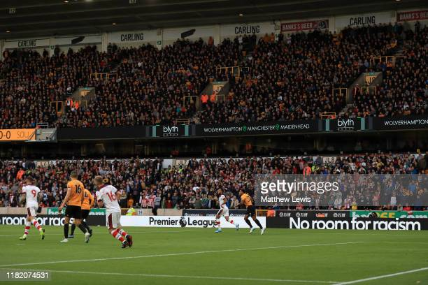 General view inside the stadium of branding for the 'No room for racism' campaign during the Premier League match between Wolverhampton Wanderers and...