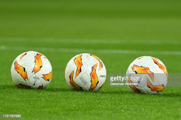 General view inside the stadium of match balls during the UEFA Europa League Round of 32 Second Leg match between RB Salzburg and Club Brugge at Red...