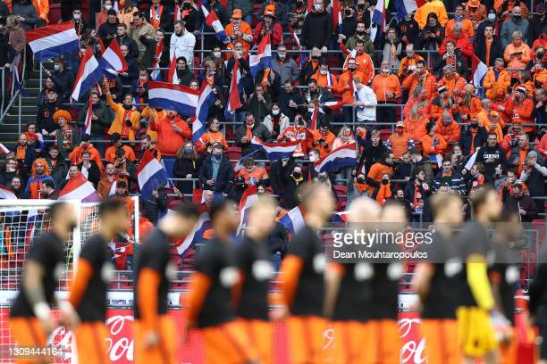 General view inside the stadium of Netherlands fans during the National Anthems prior to the FIFA World Cup 2022 Qatar qualifying match between the...