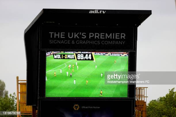 General view inside the stadium of the big screen during the Premier League match between Wolverhampton Wanderers and Manchester United at Molineux...
