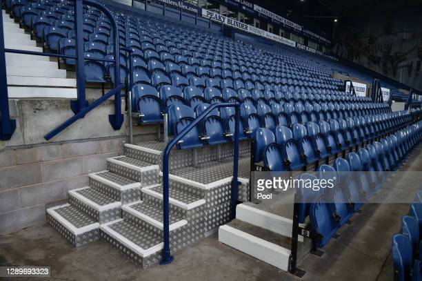 General view inside the stadium of the empty stand prior to the Premier League match between West Bromwich Albion and Crystal Palace at The Hawthorns...