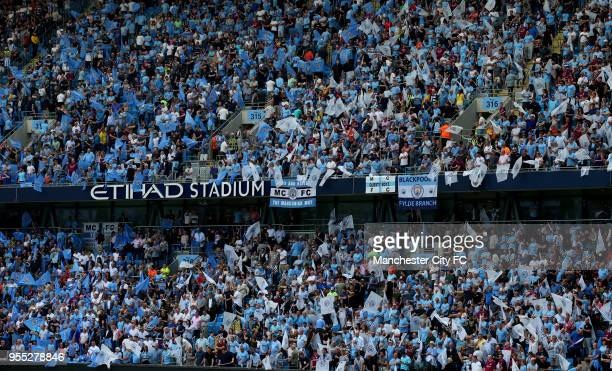 General view inside the stadium of the fans enjoying the atmosphere during the Premier League match between Manchester City and Huddersfield Town at...