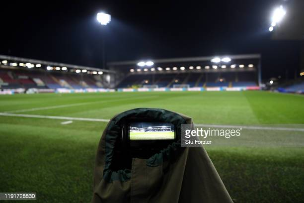 General view inside the stadium of the stadium shown on a camera ahead of the Premier League match between Burnley FC and Manchester City at Turf...