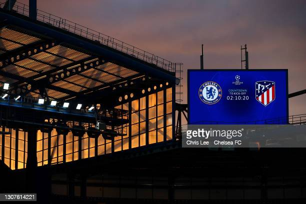 General view inside the stadium of the sunset and the big screen prior to the UEFA Champions League Round of 16 match between Chelsea FC and Atletico...