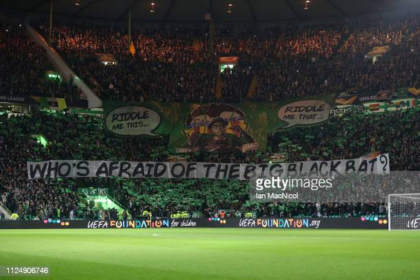 A general view inside the stadium of Valencia fans during the UEFA Europa League Round of 32 First Leg match between Celtic and Valencia at Celtic...