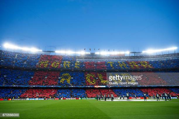 General view inside the stadium prior the UEFA Champions League Quarter Final second leg match between FC Barcelona and Juventus at Camp Nou on April...