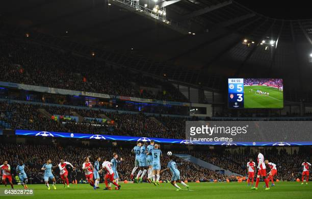 A general view inside the stadium prior to as Monaco shoot from a free kick during the UEFA Champions League Round of 16 first leg match between...