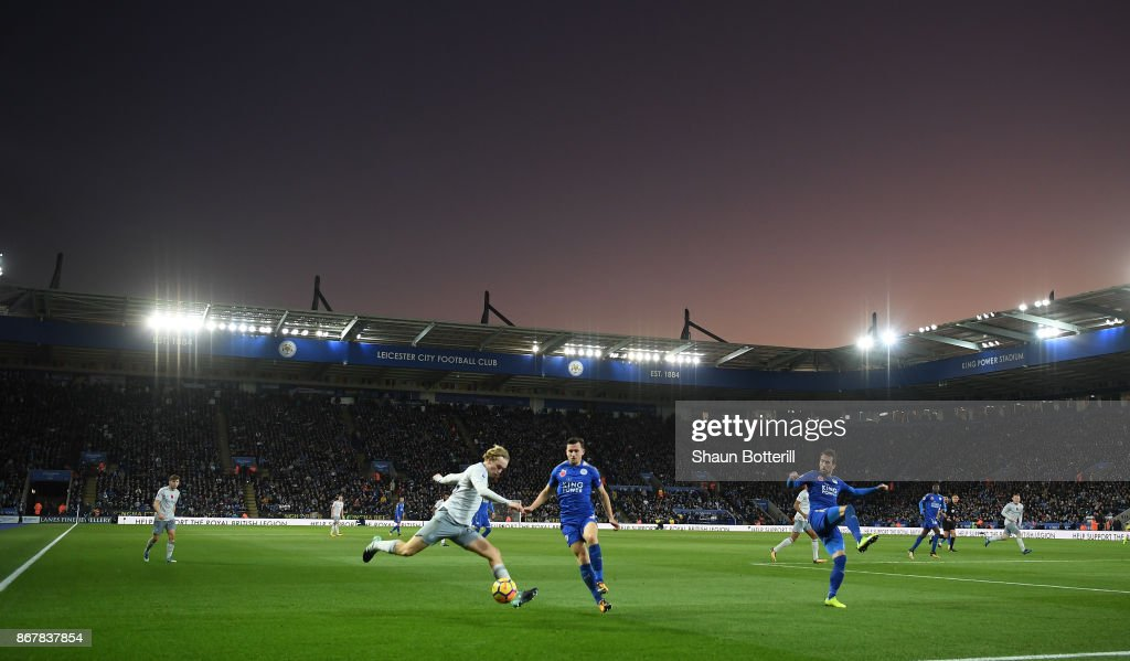 A general view inside the stadium prior to as Tom Davies of Everton crosses the ball during the Premier League match between Leicester City and Everton at The King Power Stadium on October 29, 2017 in Leicester, England.