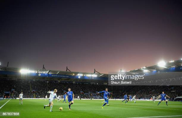 A general view inside the stadium prior to as Tom Davies of Everton crosses the ball during the Premier League match between Leicester City and...