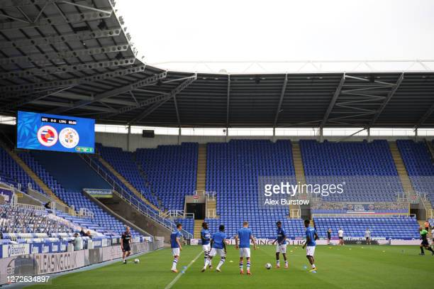 General view inside the stadium prior to Carabao Cup Second Round match between Reading FC and Luton Town at Madejski Stadium on September 15 2020 in...