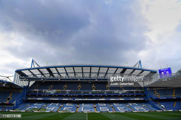 General view inside the stadium prior to during the Premier League match between Chelsea FC and Brighton Hove Albion at Stamford Bridge on April 03...