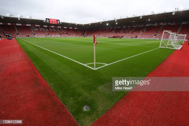 General view inside the stadium prior to during the Premier League match between Southampton FC and Burnley FC at St Mary's Stadium on February 15,...