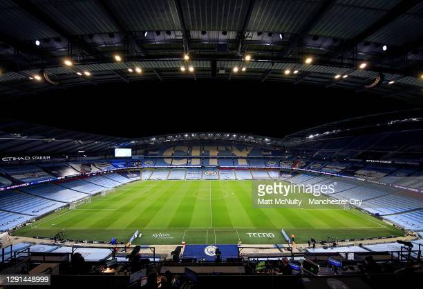 General view inside the stadium prior to during the Premier League match between Manchester City and West Bromwich Albion at Etihad Stadium on...