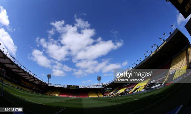 General view inside the stadium prior to during the Sky Bet Championship match between Watford and Sheffield Wednesday at Vicarage Road on April 02,...