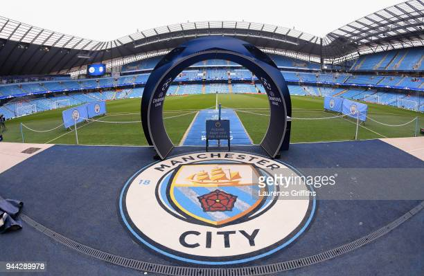 General view inside the stadium prior to during the UEFA Champions League Quarter Final Second Leg match between Manchester City and Liverpool at...