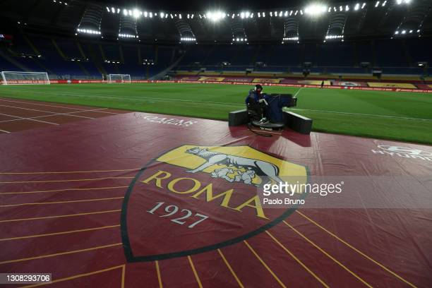 General view inside the stadium prior to duringthe Serie A match between AS Roma and SSC Napoli at Stadio Olimpico on March 21, 2021 in Rome, Italy....