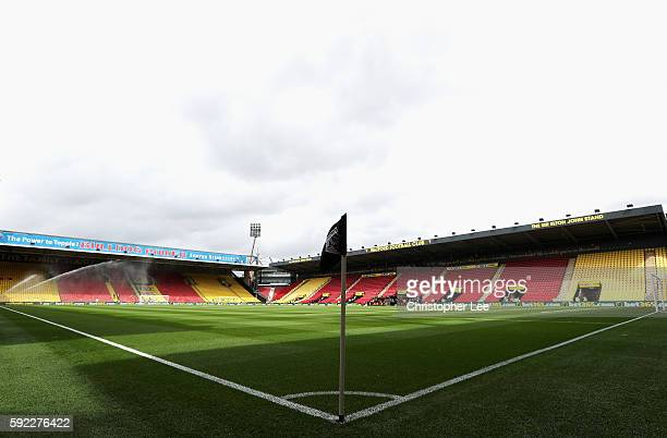 General view inside the stadium prior to kick off during the Premier League match between Watford and Chelsea at Vicarage Road on August 20 2016 in...