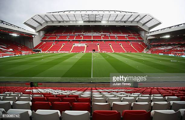 General view inside the stadium prior to kick off during the Premier League match between Liverpool and Hull City at Anfield on September 24 2016 in...
