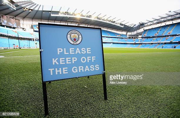 General view inside the stadium prior to kick off during the Premier League match between Manchester City and Middlesbrough at Etihad Stadium on...