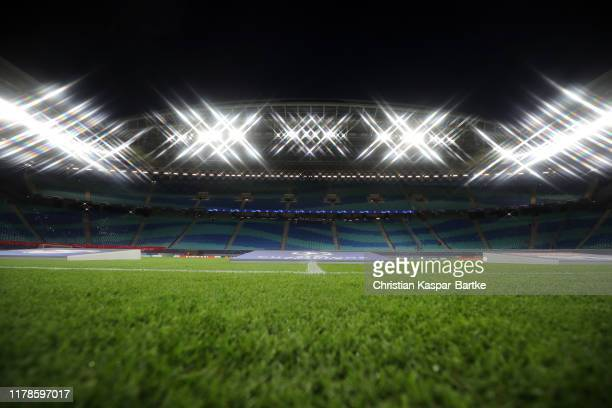 General view inside the stadium prior to kick off during the UEFA Champions League group G match between RB Leipzig and Olympique Lyon at Red Bull...