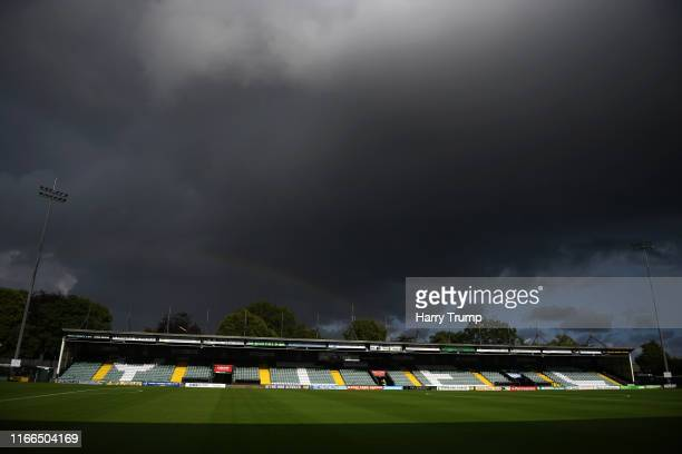 General view inside the stadium prior to kick off during the Vanarama National League match between Yeovil Town and Eastleigh FC at Huish Park on...