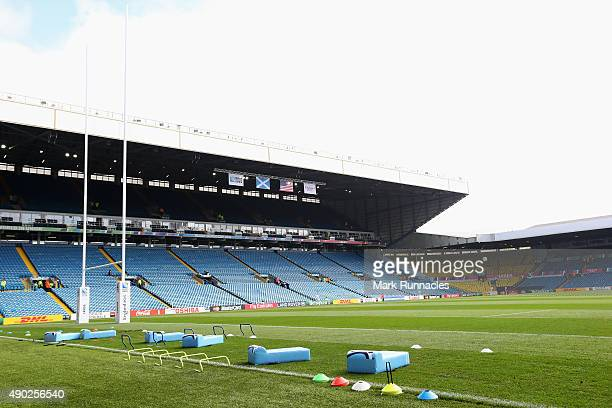 A general view inside the stadium prior to the 2015 Rugby World Cup Pool B match between Scotland and USA at Elland Road on September 27 2015 in...