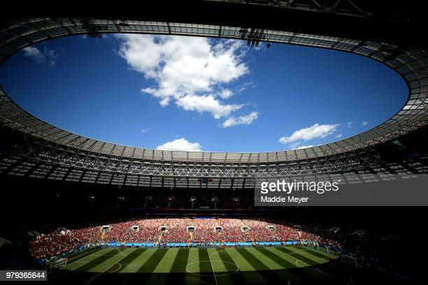 General view inside the stadium prior to the 2018 FIFA World Cup Russia group B match between Portugal and Morocco at Luzhniki Stadium on June 20...