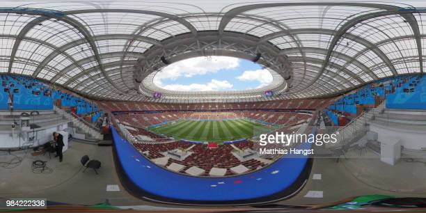 A general view inside the stadium prior to the 2018 FIFA World Cup Russia group C match between Denmark and France at Luzhniki Stadium on June 26...