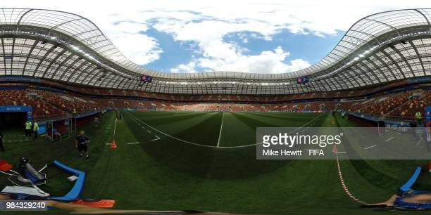 General view inside the stadium prior to the 2018 FIFA World Cup Russia group C match between Denmark and France at Luzhniki Stadium on June 26 2018...