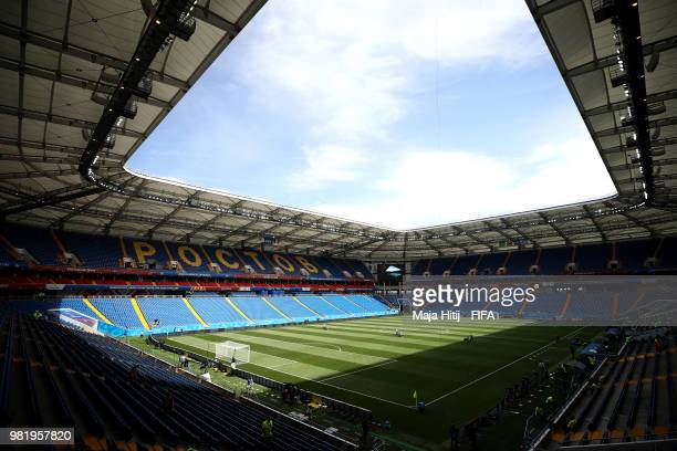 General view inside the stadium prior to the 2018 FIFA World Cup Russia group F match between Korea Republic and Mexico at Rostov Arena on June 23...