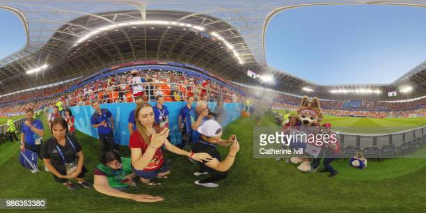 General view inside the stadium prior to the 2018 FIFA World Cup Russia group G match between Panama and Tunisia at Mordovia Arena on June 28 2018 in...