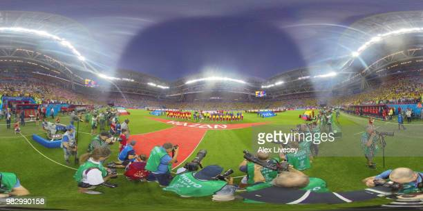 General view inside the stadium prior to the 2018 FIFA World Cup Russia group H match between Poland and Colombia at Kazan Arena on June 24 2018 in...