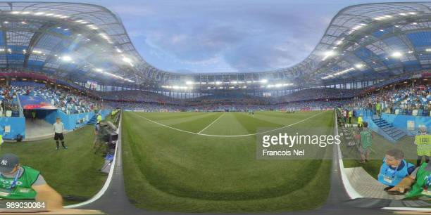 General view inside the stadium prior to the 2018 FIFA World Cup Russia Round of 16 match between Croatia and Denmark at Nizhny Novgorod Stadium on...