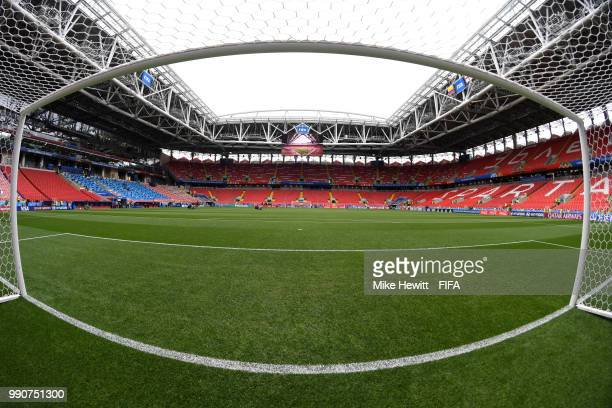 General view inside the stadium prior to the 2018 FIFA World Cup Russia Round of 16 match between Colombia and England at Spartak Stadium on July 3...