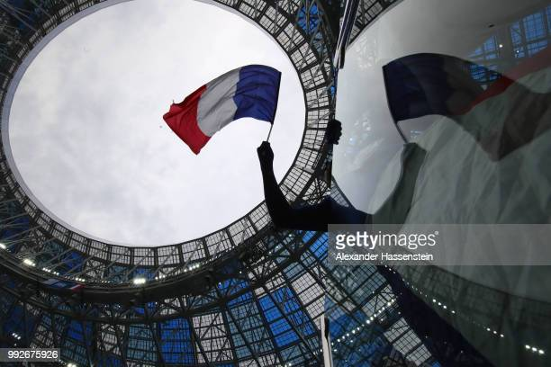 General view inside the stadium prior to the 2018 FIFA World Cup Russia Quarter Final match between Uruguay and France at Nizhny Novgorod Stadium on...