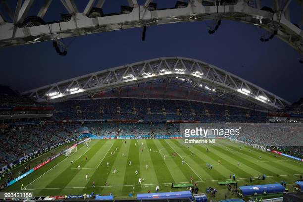 General view inside the stadium prior to the 2018 FIFA World Cup Russia Quarter Final match between Russia and Croatia at Fisht Stadium on July 7...