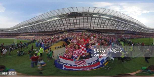 General view inside the stadium prior to the 2018 FIFA World Cup Final between France and Croatia at Luzhniki Stadium on July 15 2018 in Moscow Russia