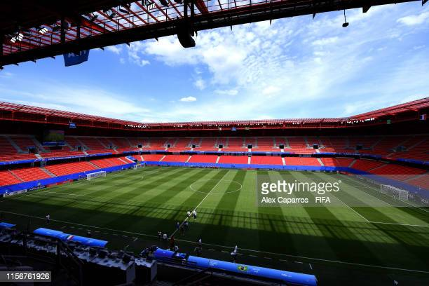 General view inside the stadium prior to the 2019 FIFA Women's World Cup France group C match between Italy and Brazil at Stade du Hainaut on June 18...