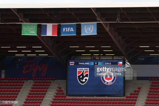 General view inside the stadium prior to the 2019 FIFA Women's World Cup France group F match between Thailand and Chile at Roazhon Park on June 20...